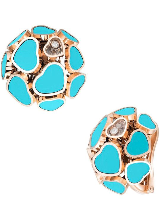 Chopard Happy Hearts collection, earclips turquoise and blue stone inlay and moving diamond on rose gold