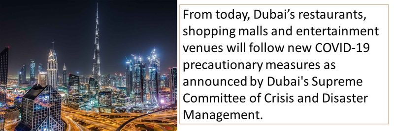 From today, Dubai's restaurants, shopping malls and entertainment venues will follow new COVID-19 precautionary measures as announced by Dubai's Supreme Committee of Crisis and Disaster Management.