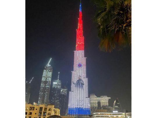 Rangers' colours light up the Burj Khalifa in Dubai