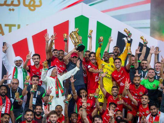 Shabab Al Ahli celebrate winning the President's Cup