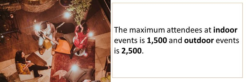 The maximum attendees at indoor events is 1,500 and outdoor events is 2,500.