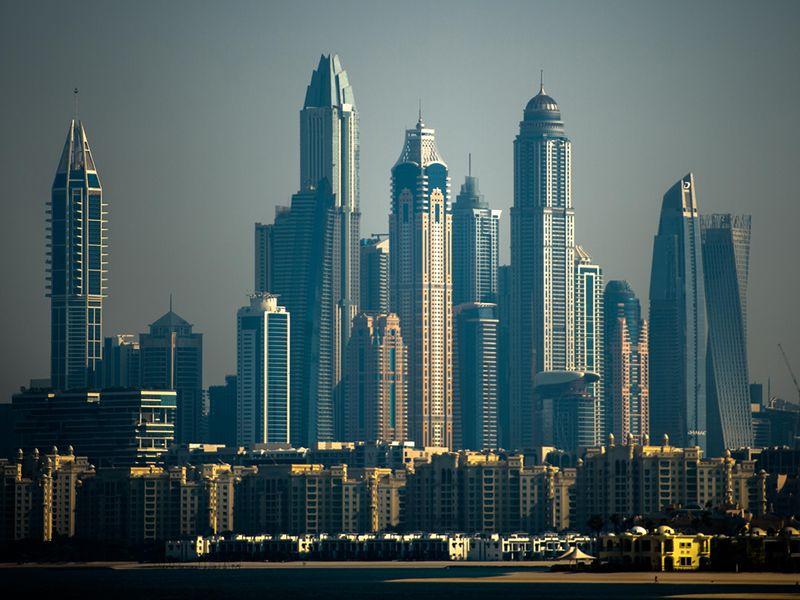 Stock Dubai skyline Dubai Marina