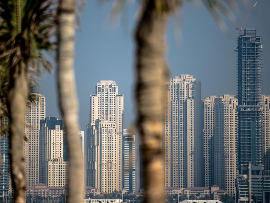Stock Dubai skyline Jumeirah Beach Residence JBR