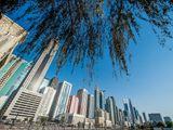 Stock Dubai skyline Sheikh Zayed Road