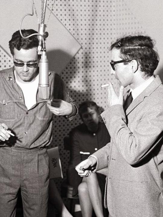 Michel Legrand at Radio-Luxembourg with Jean-Luc Godard, April 1964, Paris
