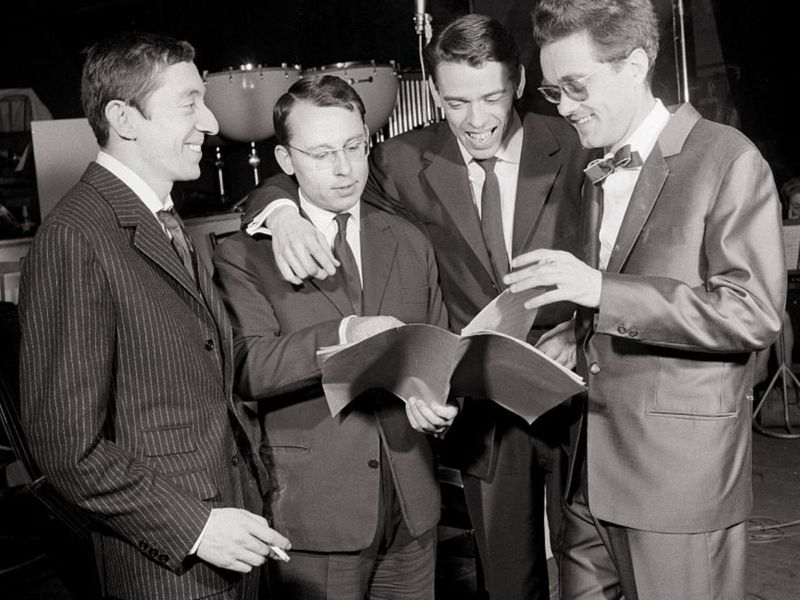 Serge Gainsbourg, Alain Goraguer, Jacques Brel and Michel Legrand at the Alhambra in Paris, 21 April 1960