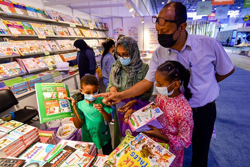 Children at the 12th edition of Sharjah Children Reading Festival in Sharjah Expo Centre in Sharjah.