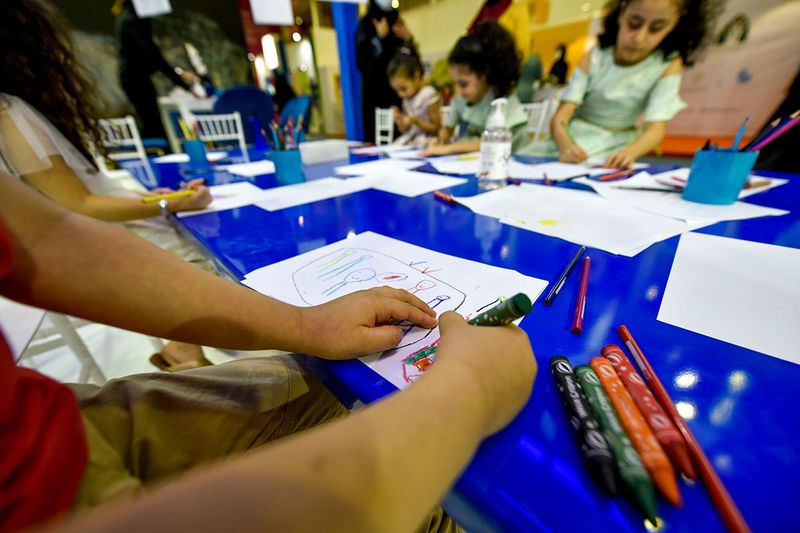 Children at workshop at the 12th edition of Sharjah Children Reading Festival in Sharjah Expo Centre in Sharjah.