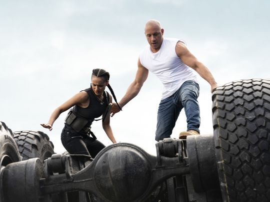 Nathalie Emmanuel and Vin Diesel in F9, directed by Justin Lin-1621517465361
