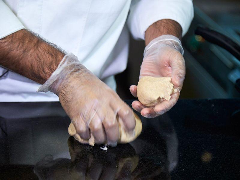 Preparing arayees paratha