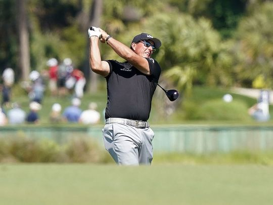 Phil Mickelson plays a shot during the second round of the PGA Championship