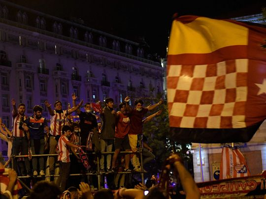 Atletico fans celebrate before the tragedy