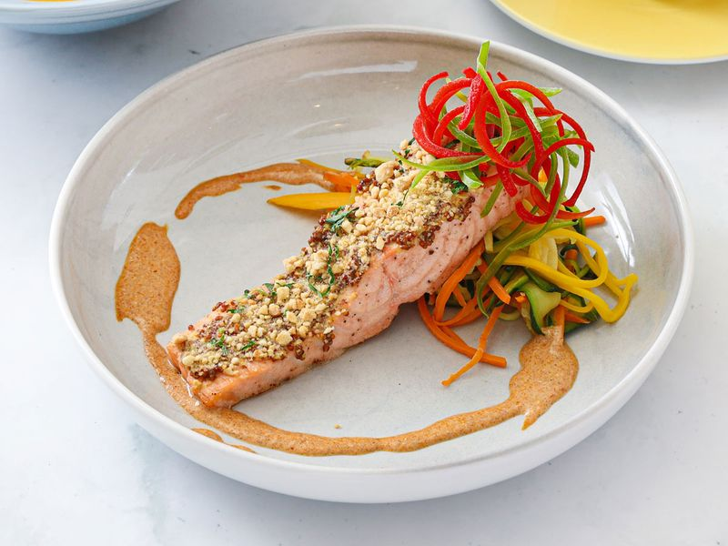 Cashew and Quinoa Crusted Salmon with Spiralised Zucchini and Thai Curry Coconut Sauce
