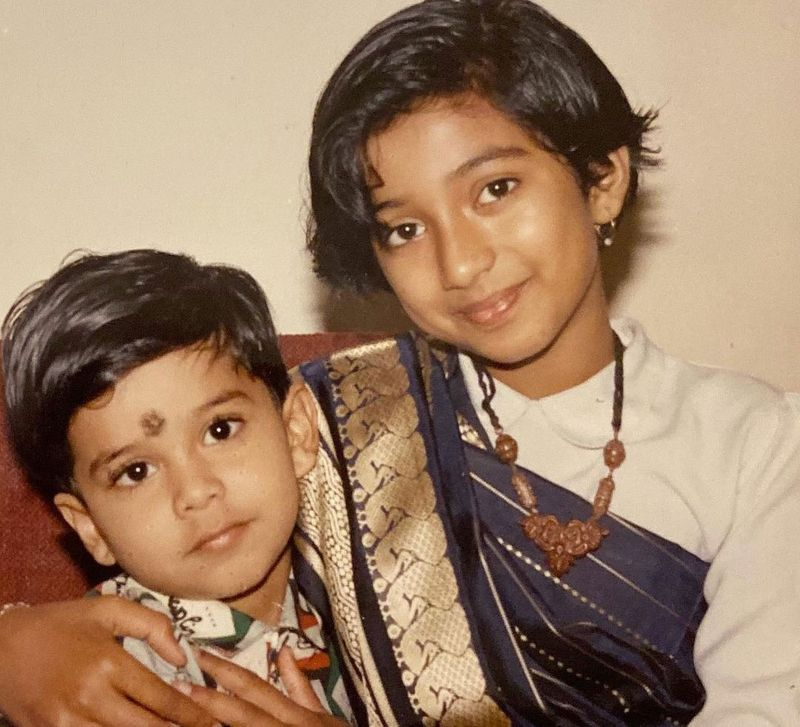 Little Shreya Ghoshal with her brother