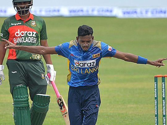 Sri Lanka's Dushmantha Chameera celebrates the dismissal of Bangladesh's wicketkeeper Liton Das