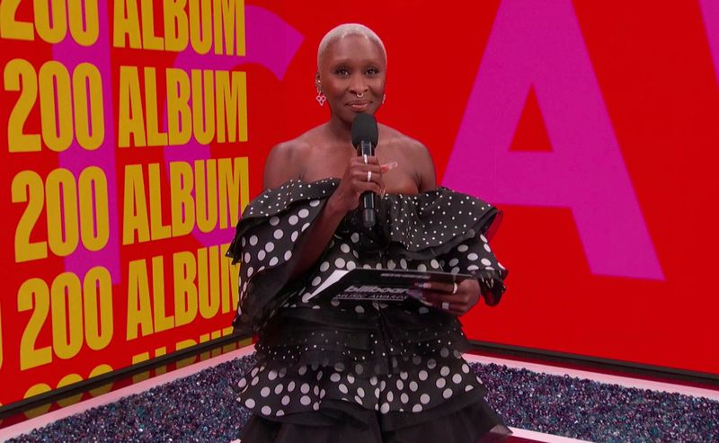 In this video image provided by NBC, Cynthia Erivo presents the top billboard 200 album award during the Billboard Music Awards on Sunday, May 23, 2021.