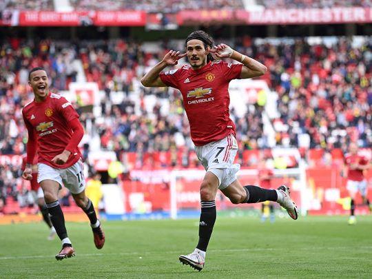 Manchester United's Edinson Cavani celebrates