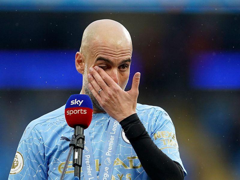 Pep Guardiola in tears as Aguero leaves