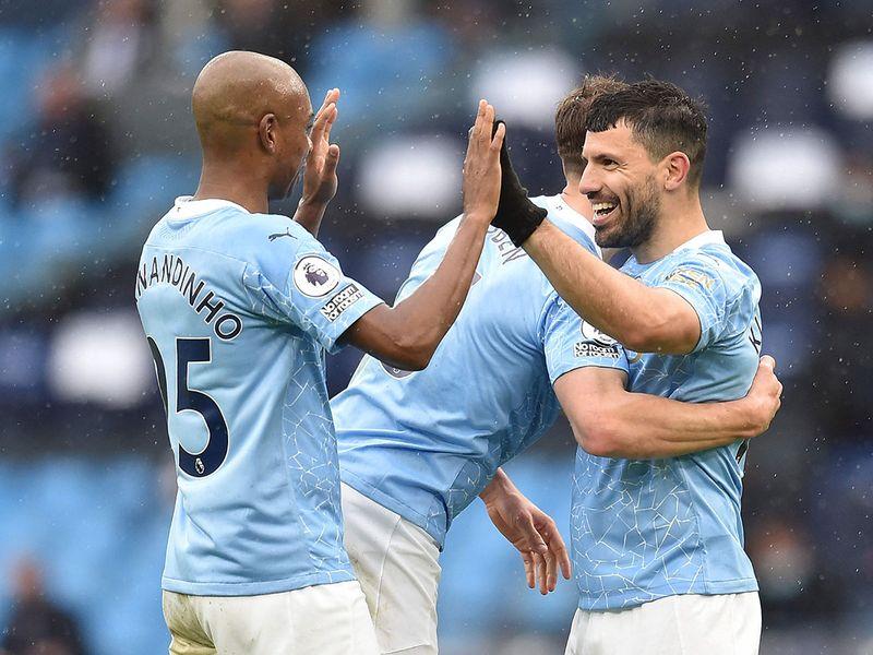 Sergio Aguero celebrates scoring against Everton