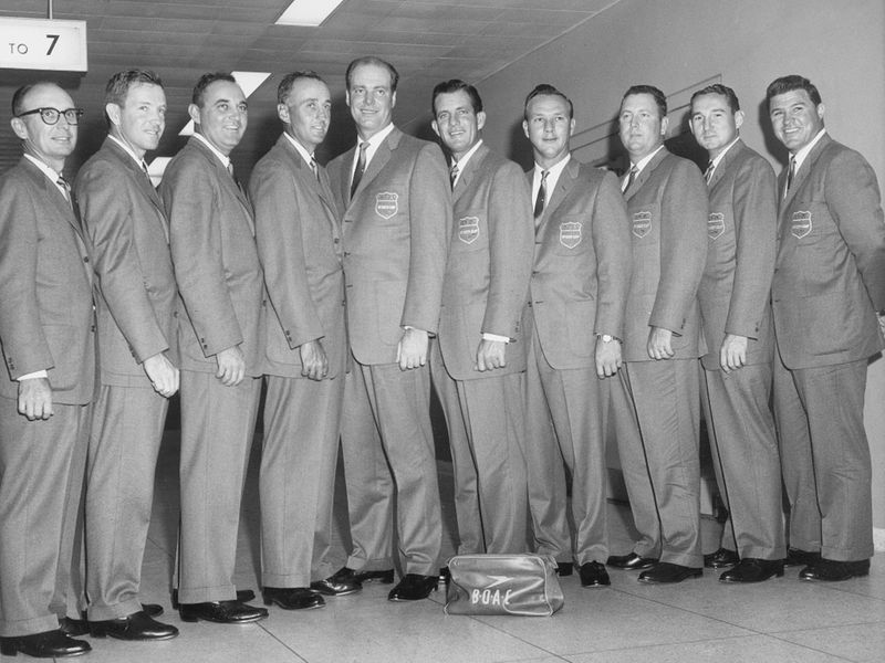 The U.S. Ryder Cup team is seen just before flying to London from New York International Airport, Oct. 1961. From left to right: team captain Jerry Barber, Gene Littler, Doug Ford, Art Wall, Bill Collins, Jay Herbert, Arnold Palmer, Bill Casper, Dow Finsterwald, and Mike Souchak.