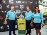 Emirates Amateur Golf League (EAGL) Tournament Director, Nick Tarratt with Sripriyaa Kumaria, League Administrator, and Sudesh Aggarwal, creator of the tournament Pic