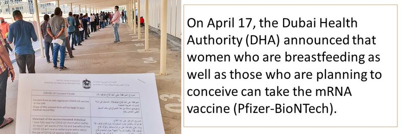 On April 17, the Dubai Health Authority (DHA) announced that women who are breastfeeding as well as those who are planning to conceive can take the mRNA vaccine (Pfizer-BioNTech).