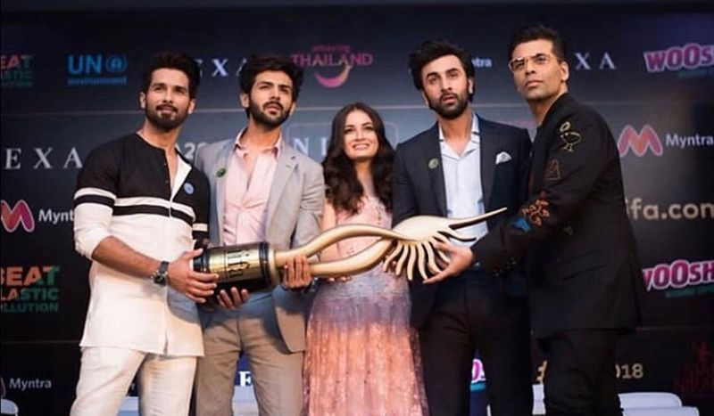 Shahid Kapoor, Kartik Aryan, Dia Mirza, Ranbir Kapoor and Karan Johar