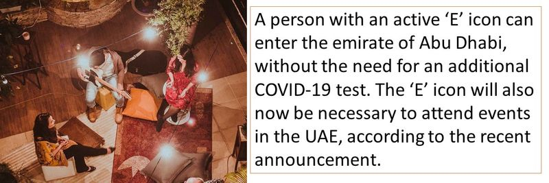 A person with an active 'E' icon can enter the emirate of Abu Dhabi, without the need for an additional COVID-19 test. The 'E' icon will also now be necessary to attend events in the UAE, according to the recent announcement.