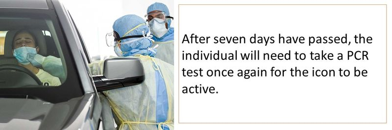 After seven days have passed, the individual will need to take a PCR test once again for the icon to be active.
