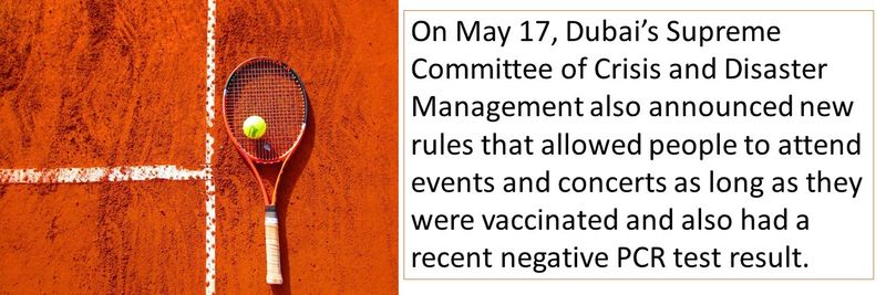 On May 17, Dubai's Supreme Committee of Crisis and Disaster Management also announced new rules that allowed people to attend events and concerts as long as they were vaccinated and also had a recent negative PCR test result.