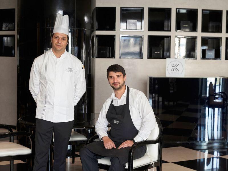 Rabbi Levi Peilymskyi Faierman and Chef Reslan Mersel Ichtay from Armani/Kaf restaurant