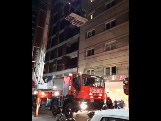 Rentistas midfielder Francisco Duarte is rescued from the hotel in Buenos Aires