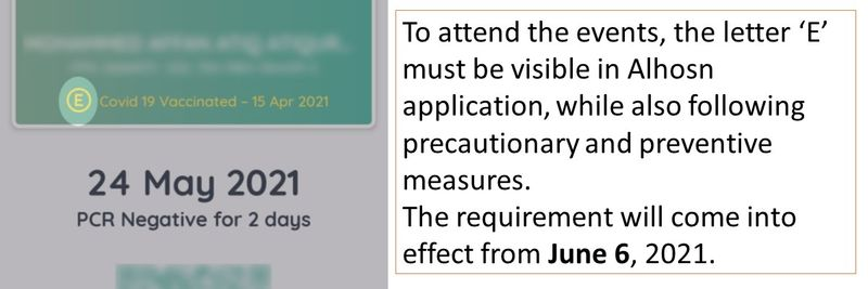 To attend the events, the letter 'E' must be visible in Alhosn application, while also following precautionary and preventive measures. The requirement will come into effect from June 6, 2021.
