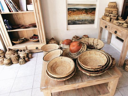 Baskets made from sun-dried palm leaves