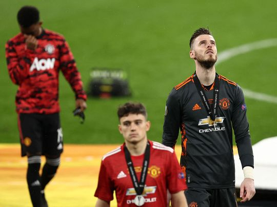 Manchester United goalkeeper David de Gea after receiving his silver medal after losing the Uefa League final to Villarreal