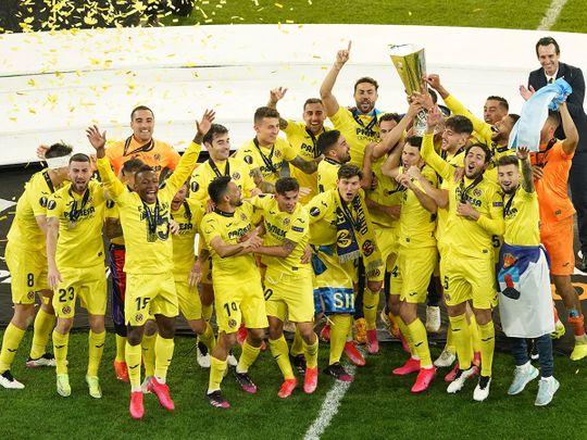 Villarreal celebrate their Europa League triumph over Manchester United