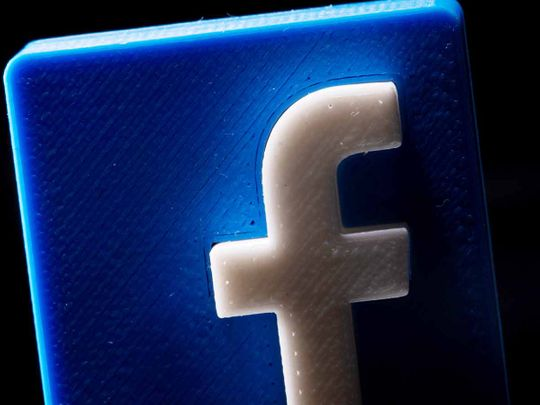 A 3D printed Facebook logo is seen in this illustration.