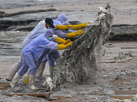 Sri Lanka navy oil tanker fire debris