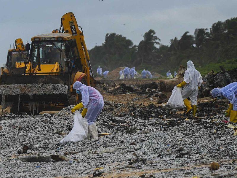 lanka navy beach fire spill container