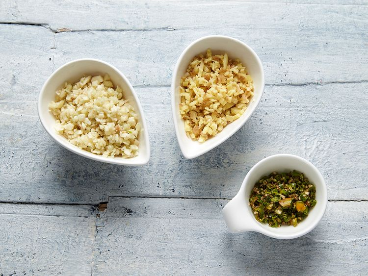 [left to right] chopped garlic, ginger, green chillies