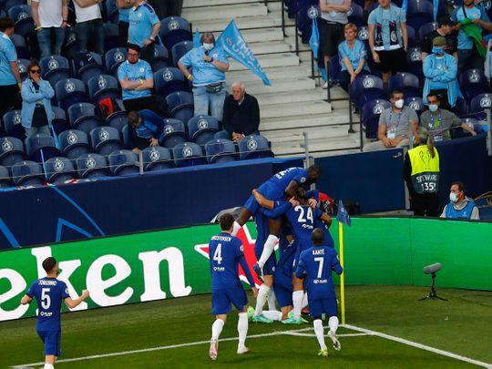 Chelsea celebrate the opener against City