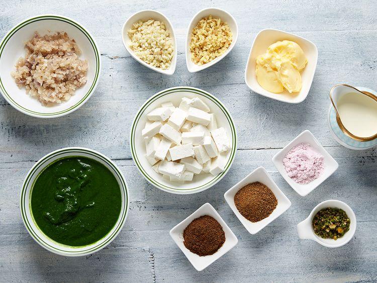 Ingredients for Palak Paneer