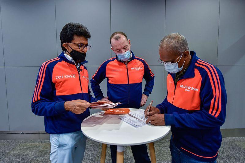 Mr Cricket UAE Anis Sajan, accompanied by Gulf News staff Shyam A. Krishna, Senior Associate Editor and Mathew Smith, Sports Editor, during the Gulf News and Mr Cricket UAE IPL 2021 fan quiz at Gulf News office in Dubai. 29th May 2021. Photo: