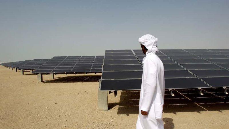 A solar power farm in Abu Dhabi.