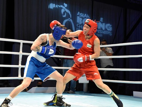 India's Mary Kom in action against Nazym Kyzaibay of Kazakhstan during women's 51kg final bout at the ASBC Asian Boxing Championships 2021 in Dubai