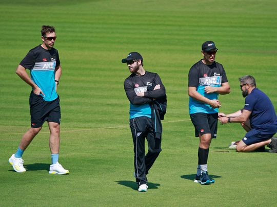 New Zealand's captain Kane Williamson attends a training session at Lord's Cricket Ground
