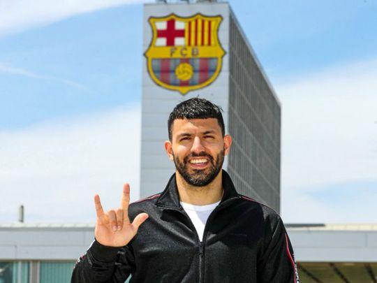 Sergio Aguero at Barcelona HQ
