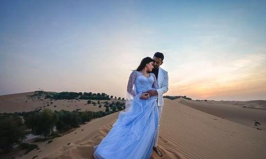 Sonalee Kulkarni and her husband in Dubai