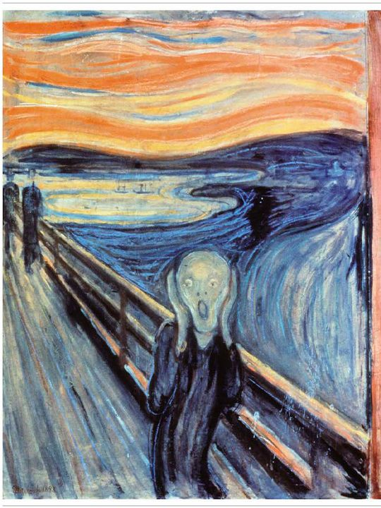 The Scream (1893) Oil, tempera, pastel and crayon on cardboard. 91 cm × 73.5 cm, by Edvard Munch