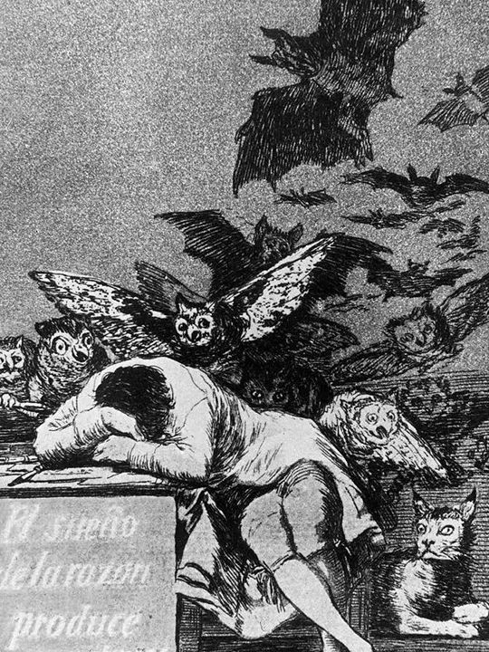 The Sleep of Reason Produces Monsters (1799) Etching, aquatint, drypoint and burin. 21.5 cm x 15 cm, by Francisco Goya